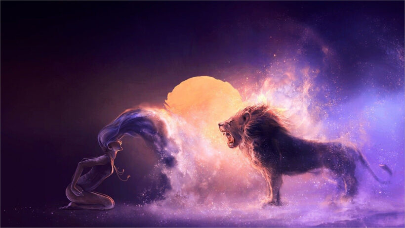 ảnh nền sư tử và cô gái đầy nghệ thuật