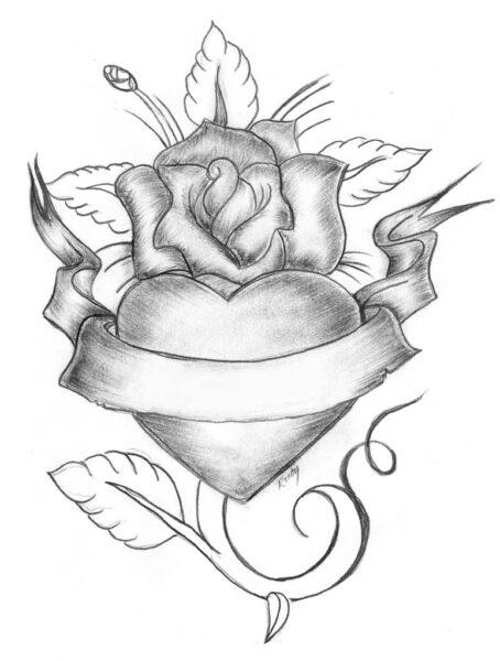 Ảnh vẽ chì hoa hồng trói trái tim tình yêu