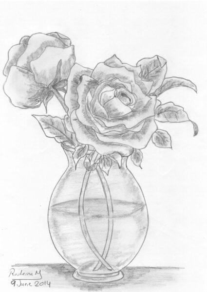 ảnh vẽ lọ hoa hồng bằng bút chì tuyệt đẹp