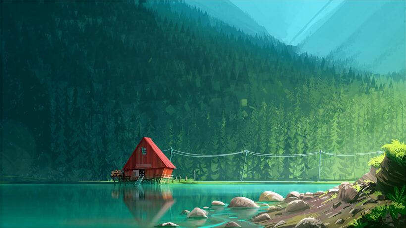 background xanh lá hoạt hình
