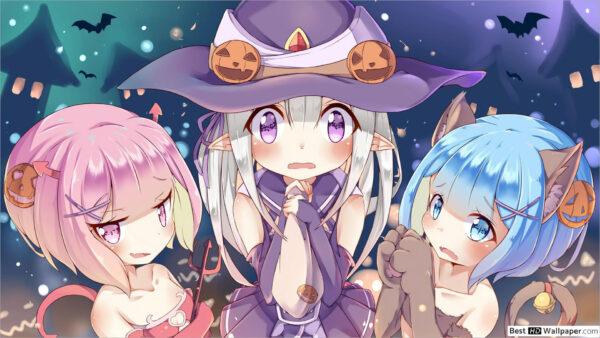 hình ảnh chibi Halloween Rem Ram xinh đẹp