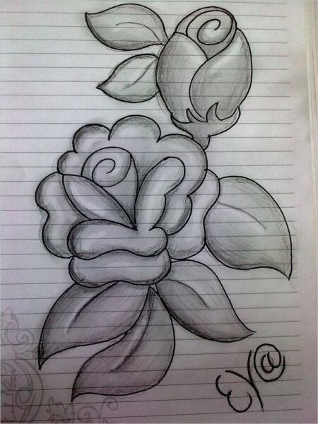 Hình ảnh hoa hồng vẽ bút chì đẹp ấn tượng nhất (23)