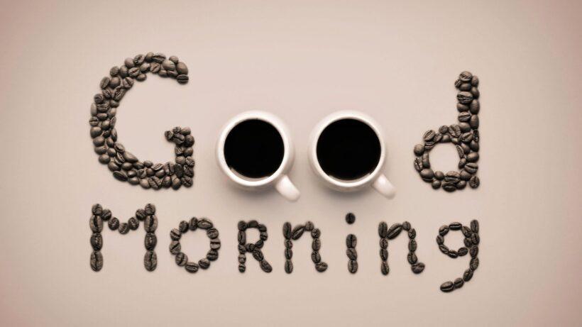 hình ảnh nền good morning xếp bởi hạt cafe
