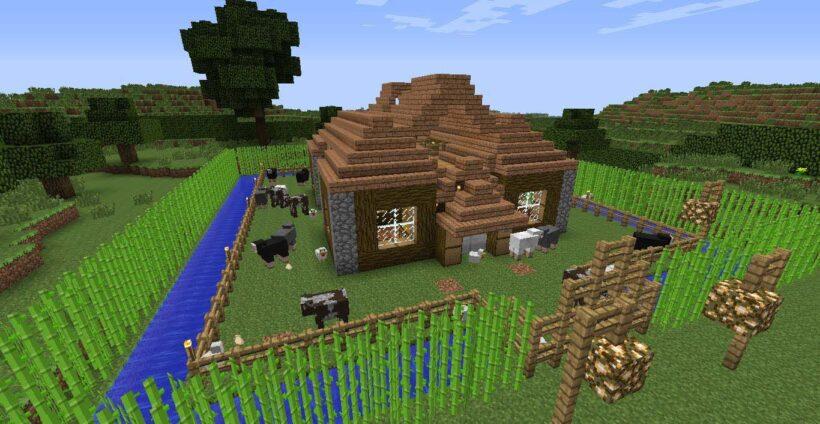 hình ảnh ngôi nhà trang trại trong game minecraft