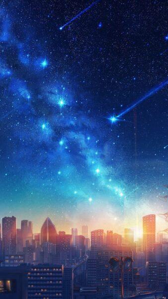 hình ảnh phong cảnh anime thành phố buồn chiều hoàng hôn