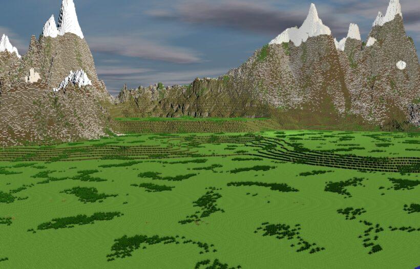 hình ảnh phong cảnh đồi núi trong minecraft