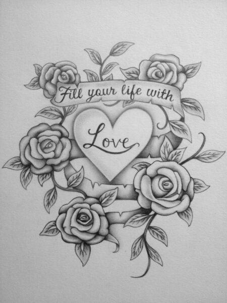 Hình ảnh vẽ chì hoa hồng và trái tim chữ love