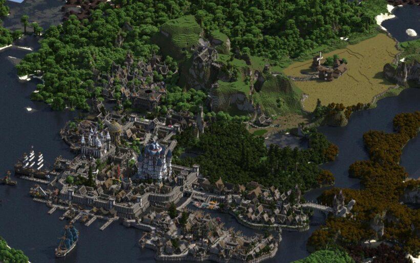 hình ảnh vương quốc tráng lệ trong Minecraft