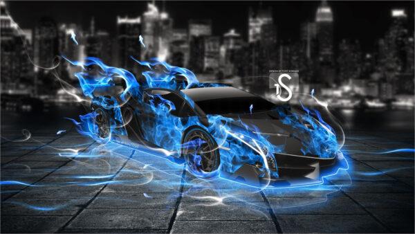 Hình nền 3D siêu xe rực lửa cho máy tính
