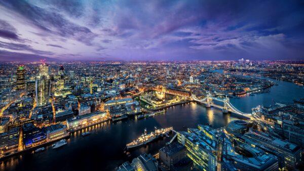 hình nền 4k thành phố nhìn từ trên cao
