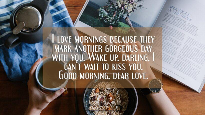 hình nền chúc buổi sáng với sách và trà