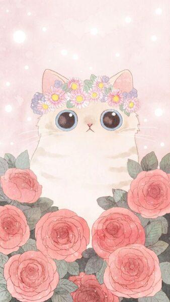 hình nền dễ thương mèo và hoa