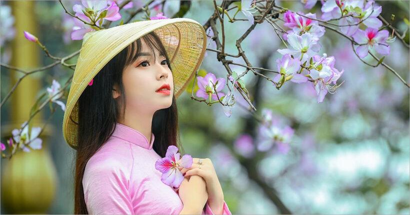 Hình nền hoa đào và girl xinh mùa xuân