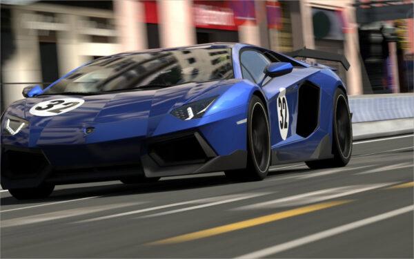 hình nền Lamborghini Aventador màu xanh