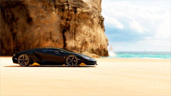 hình nền Lamborghini đẹp trên bãi biển