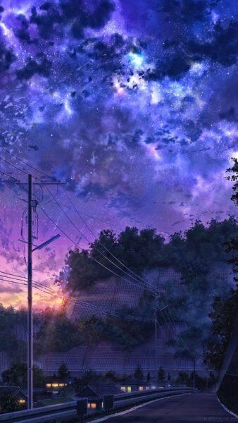 hình nền phong cảnh anime buồn chiều hoàng hôn