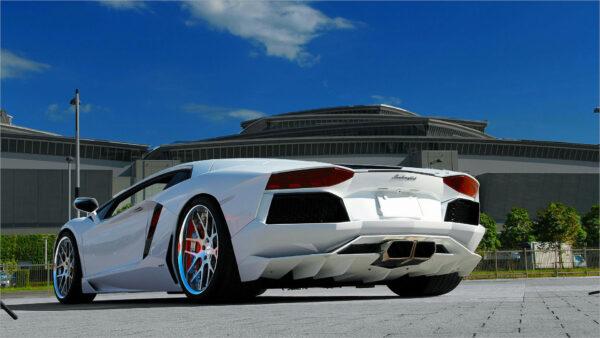 hình nền siêu xe màu trắng Lamborghini