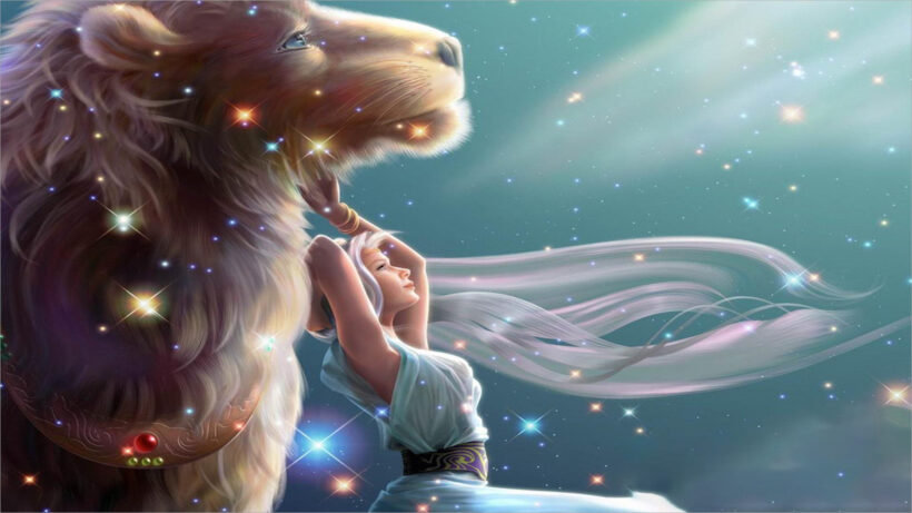 hình nền sư tử 3d và cô gái