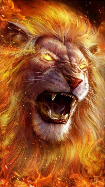 hình nền sư tử lửa cho điện thoại samsung