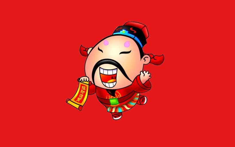 hình nền thần tài hài hước và nền đỏ