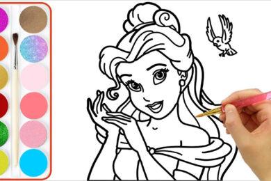 Tranh tô màu công chúa cho bé tập tô