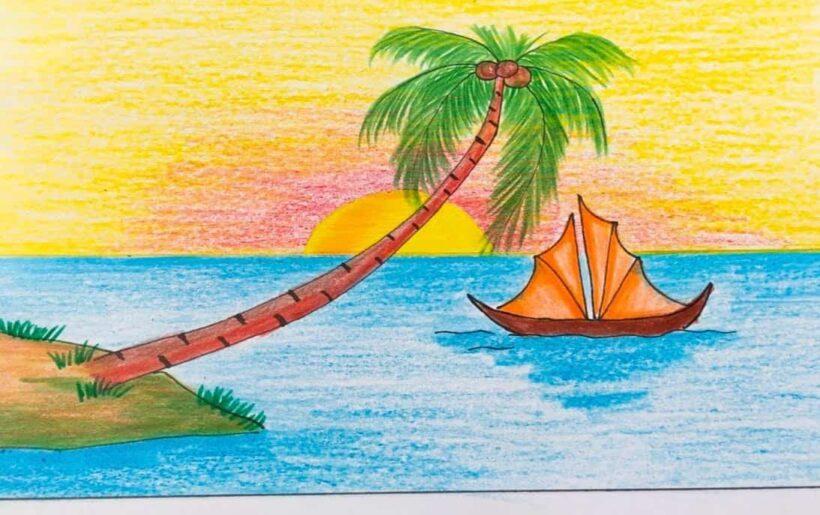 tranh vẽ phong cảnh biển
