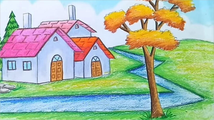 tranh vẽ phong cảnh quê hương (1)