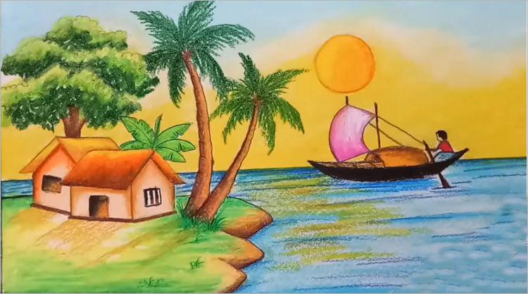 tranh vẽ phong cảnh quê hương (4)