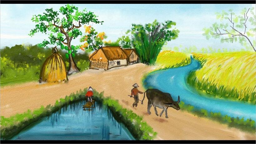 vẽ tranh đề tài quê hương đơn giản