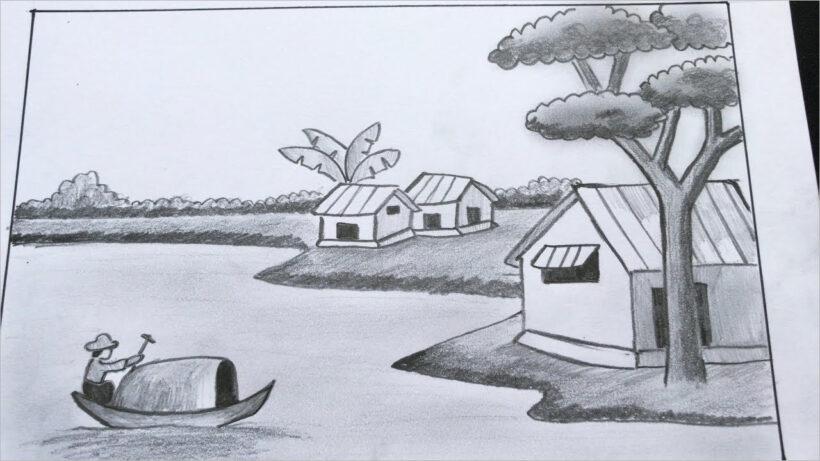 vẽ tranh phong cảnh làng quê bằng bút chì