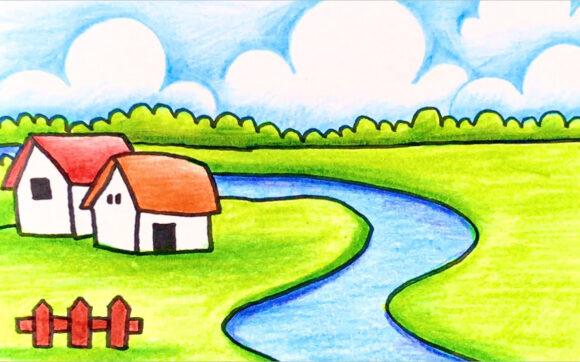 vẽ tranh về đề tài phong cảnh quê hương