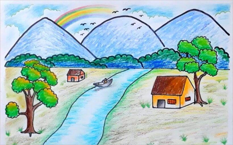 vẽ tranh về đề tài phong cảnh quê hương (6)