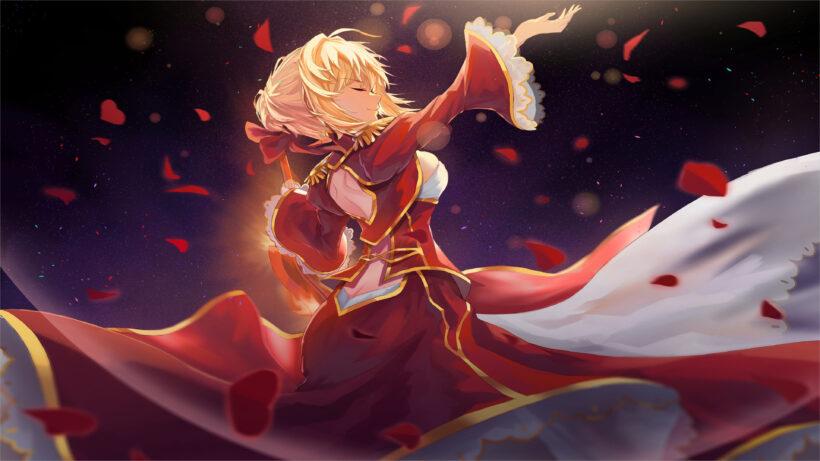 ảnh anime 4k girl váy đỏ múa
