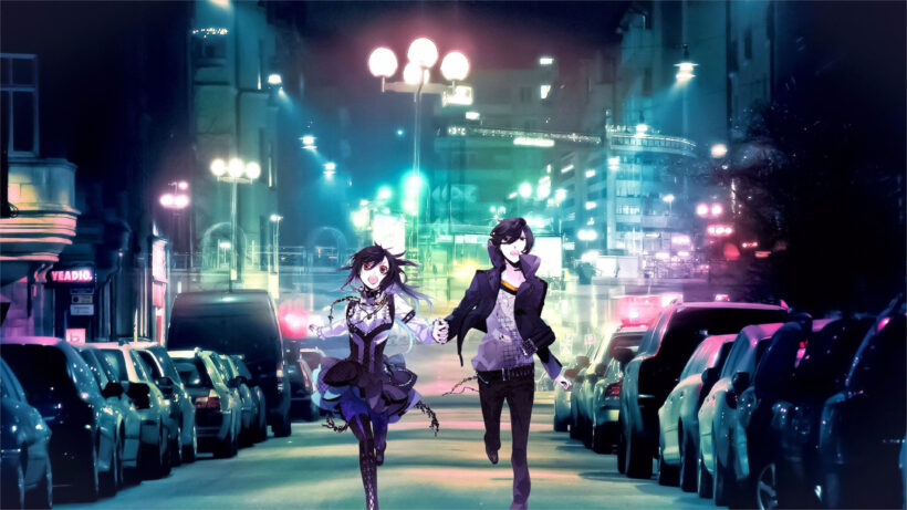 ảnh nền anime 4k cặp đôi dắt tay nhau chạy trên phố đêm