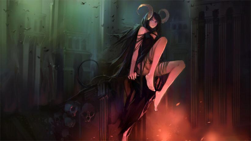 ảnh nền anime 4k girl xinh ma đầu cuốn hút