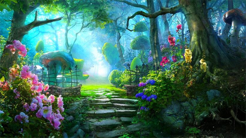 Ảnh nền anime 4k khu vườn cổ tích