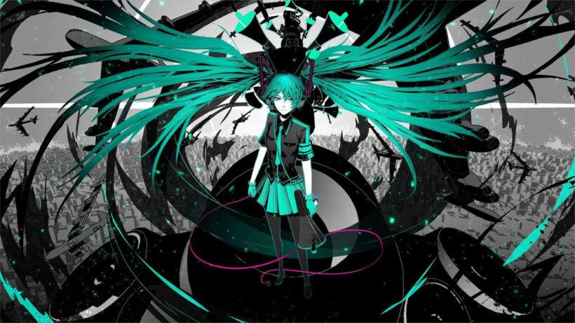 ảnh nền anime 4k nữ chiến binh cầm roi tóc xanh