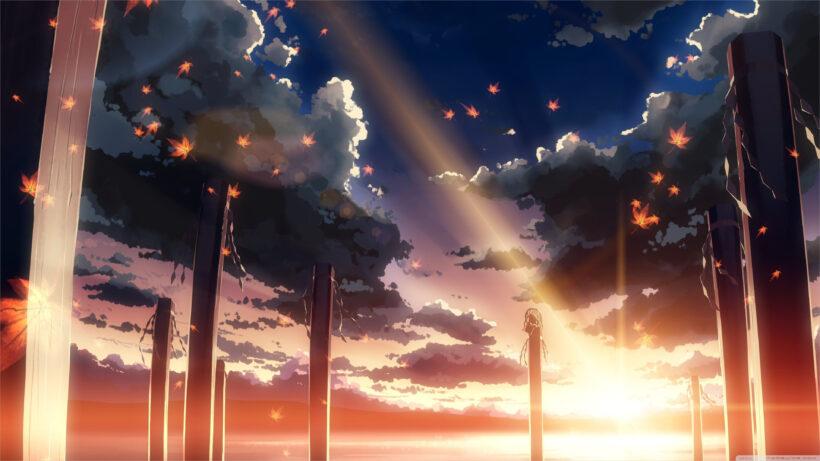ảnh nền anime 4k phong cảnh và lá thu rơi