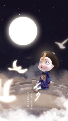 ảnh nền cương tiểu ngư ngồi trên cầu ngắm trăng