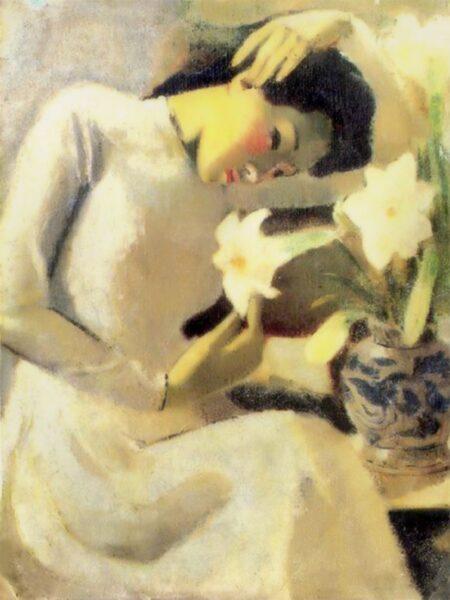 bức tranh thiếu nữ bên hoa huệ