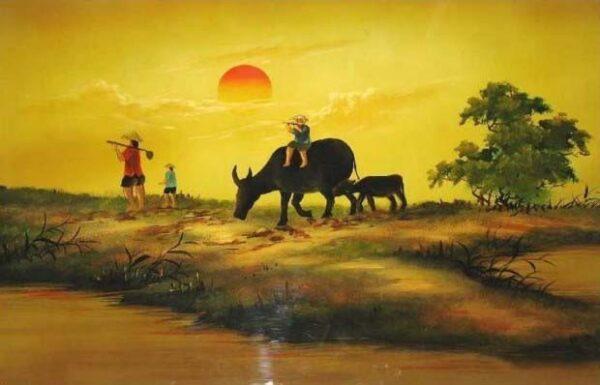 Hình ảnh Tranh vẽ phong cảnh quê hương đẹp