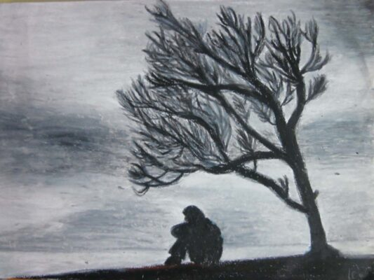 Hình ảnh vẽ cô đơn buồn 1 mình