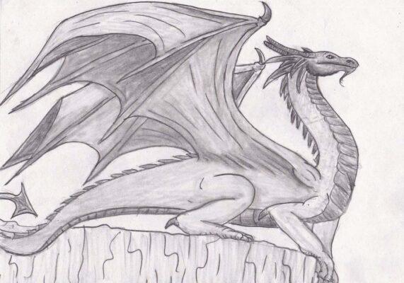 Hình ảnh vẽ con rồng có cánh tuyệt đẹp