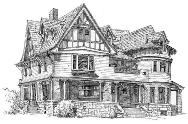 Hình ảnh vẽ ngôi nhà biệt thự