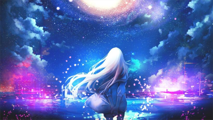 hình nền anime 4k galaxy và girl