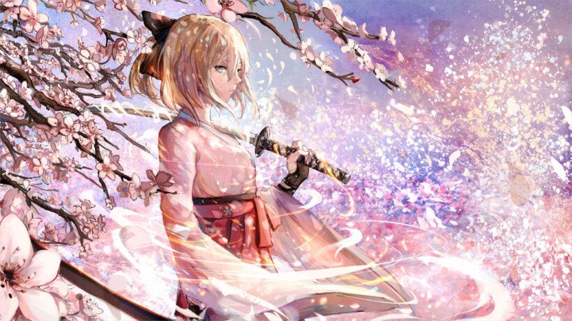hình nền anime 4k nữ kiếm sĩ và hoa