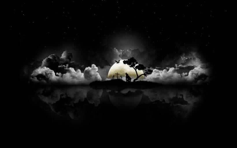 Hình nền đen cảnh đêm sói hú