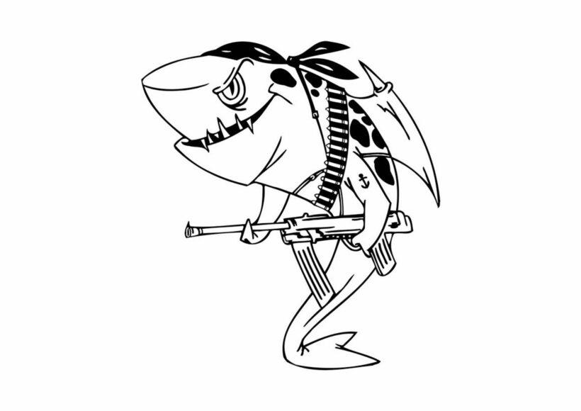 Hình tập tô con cá mập cho bé tô màu (3)