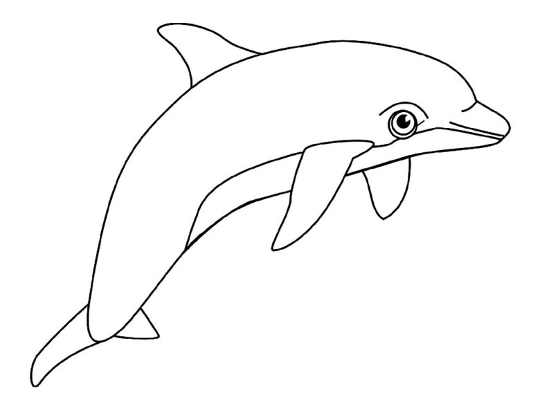Hình tô màu cá heo dễ thương cho bé tập tô (6)