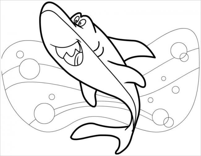 Hình tô màu cá mập đẹp nhất cho bé tập tô (4)